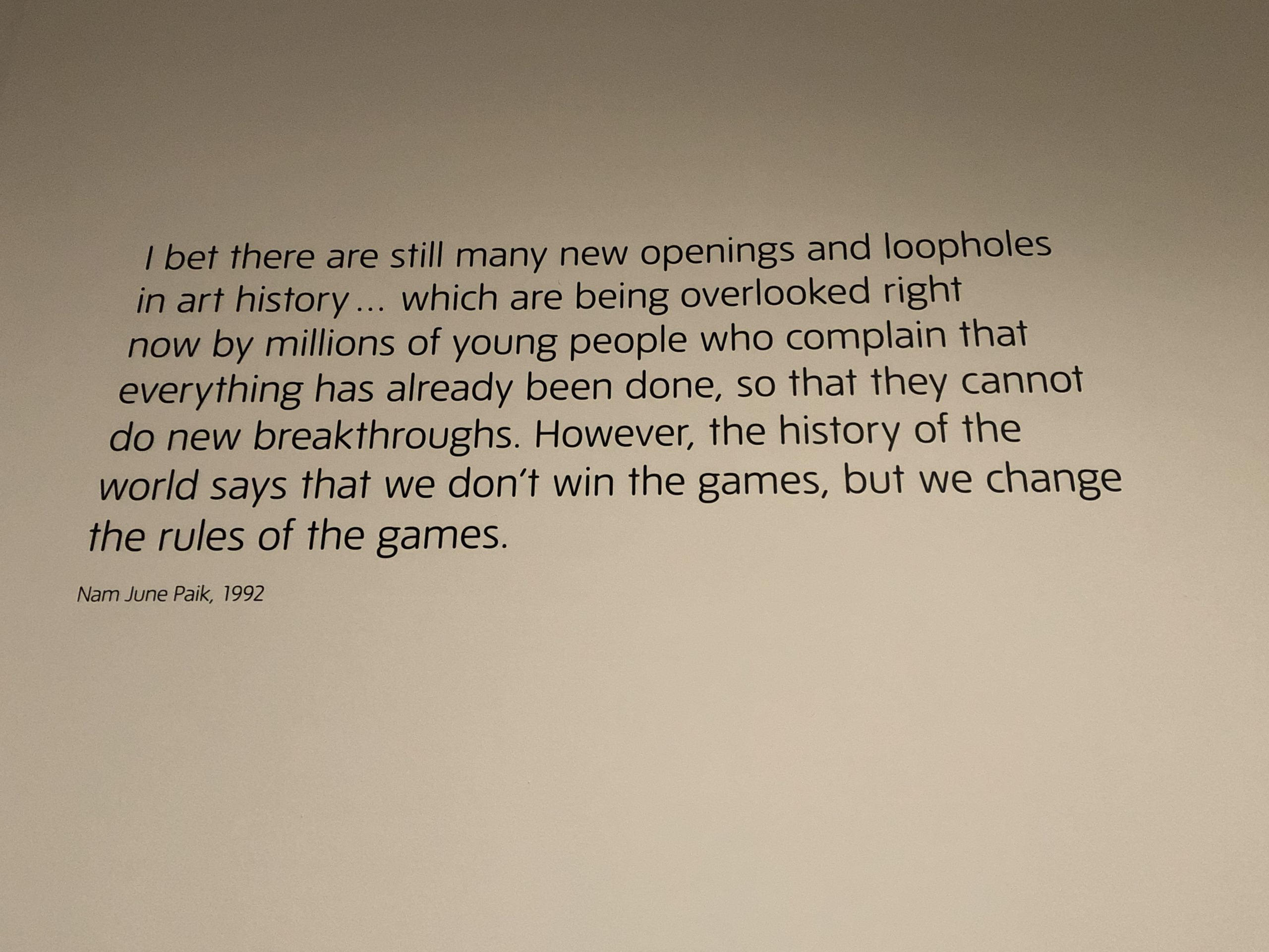 Image of a quote made by artist Nam June Paik