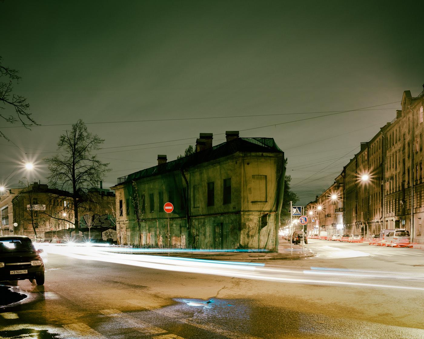 """""""Ulitsa Konstantina Zaslonova & Ulitsa Voronezhskaya, St. Petersburg"""" from the series Nylon Chrysalis, by William Mokrynski"""